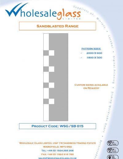 Designs on Letterheads Sandblast Range WSG 16