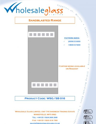 Designs on Letterheads Sandblast Range WSG 17