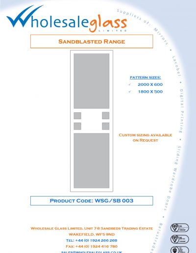 Designs on Letterheads Sandblast Range WSG 4