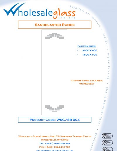 Designs on Letterheads Sandblast Range WSG 5